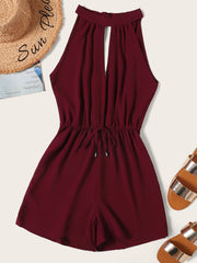Drawstring Waist Cut Out Tie Back Romper