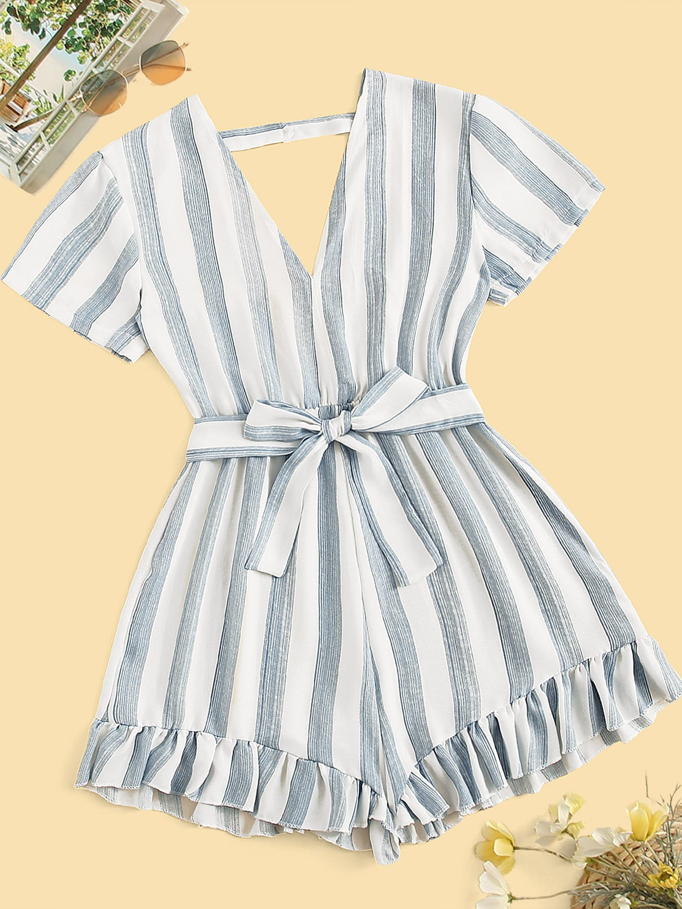 Striped Ruffle Trim Self Tie Romper