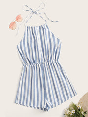 Tie Back Striped Romper