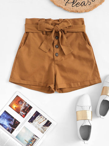 Single Breasted Belted Shorts