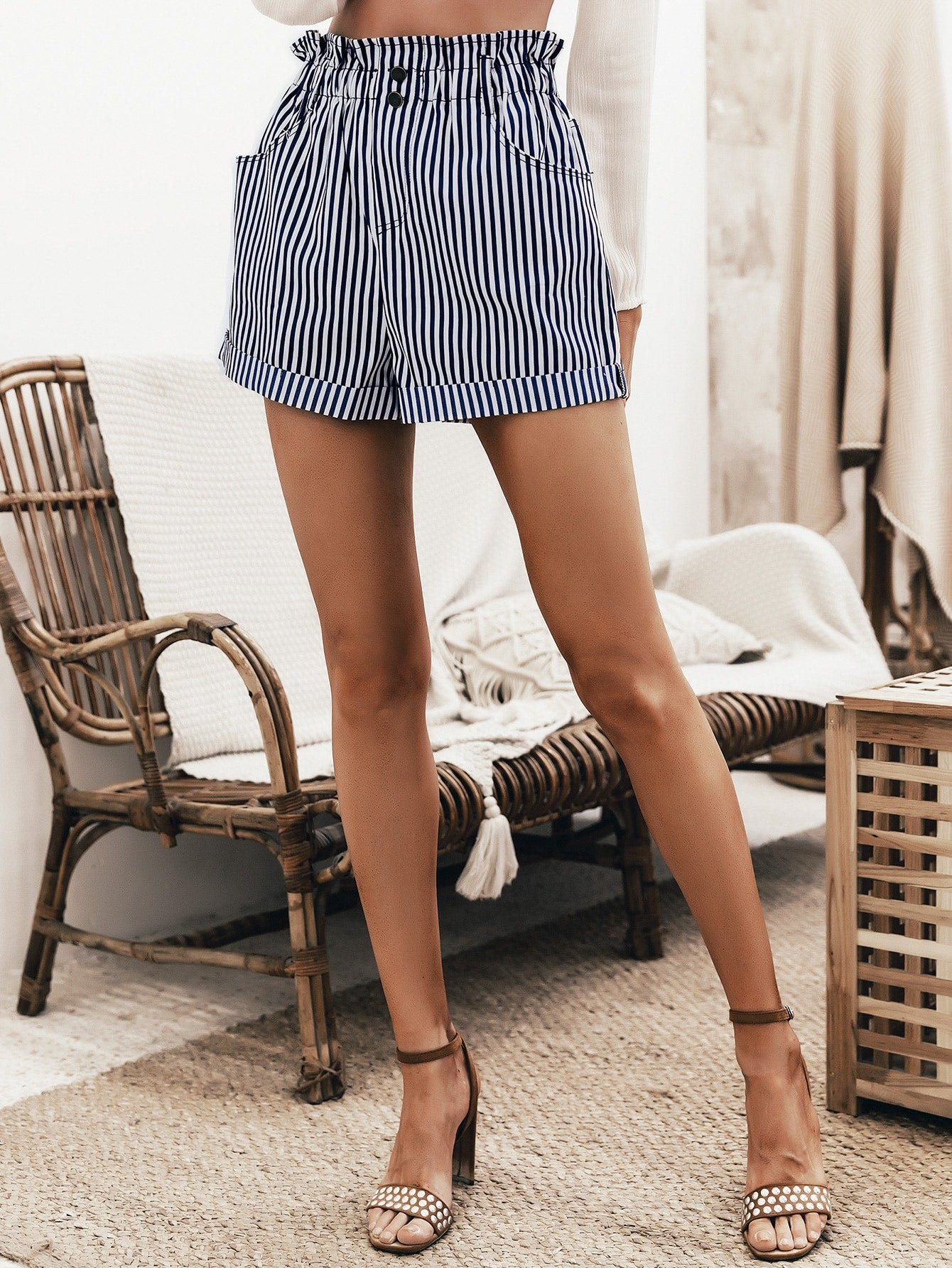Simplee Button Front Ruffle Waist Striped Shorts
