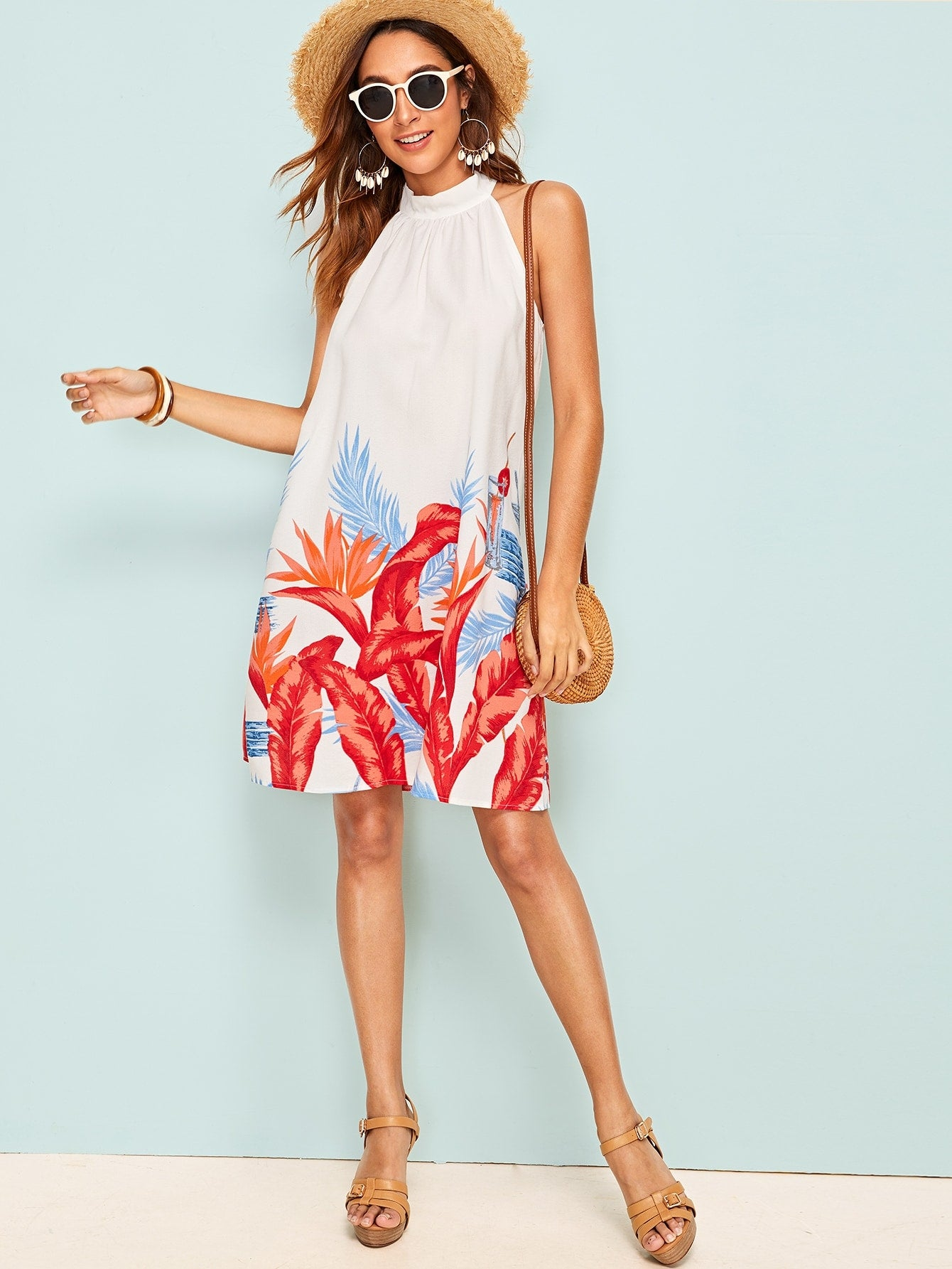 Tropical Tie Back Halter Dress