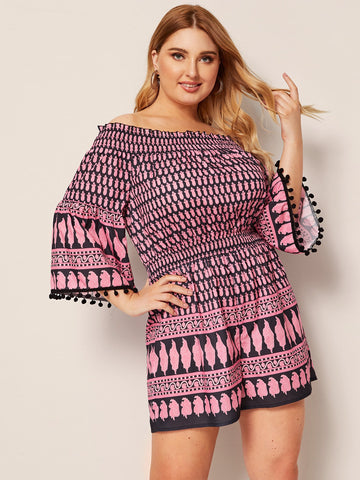 Plus Off The Shoulder Pompom Trim Tribal Print Romper