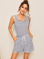 Striped Drawstring Waist Romper