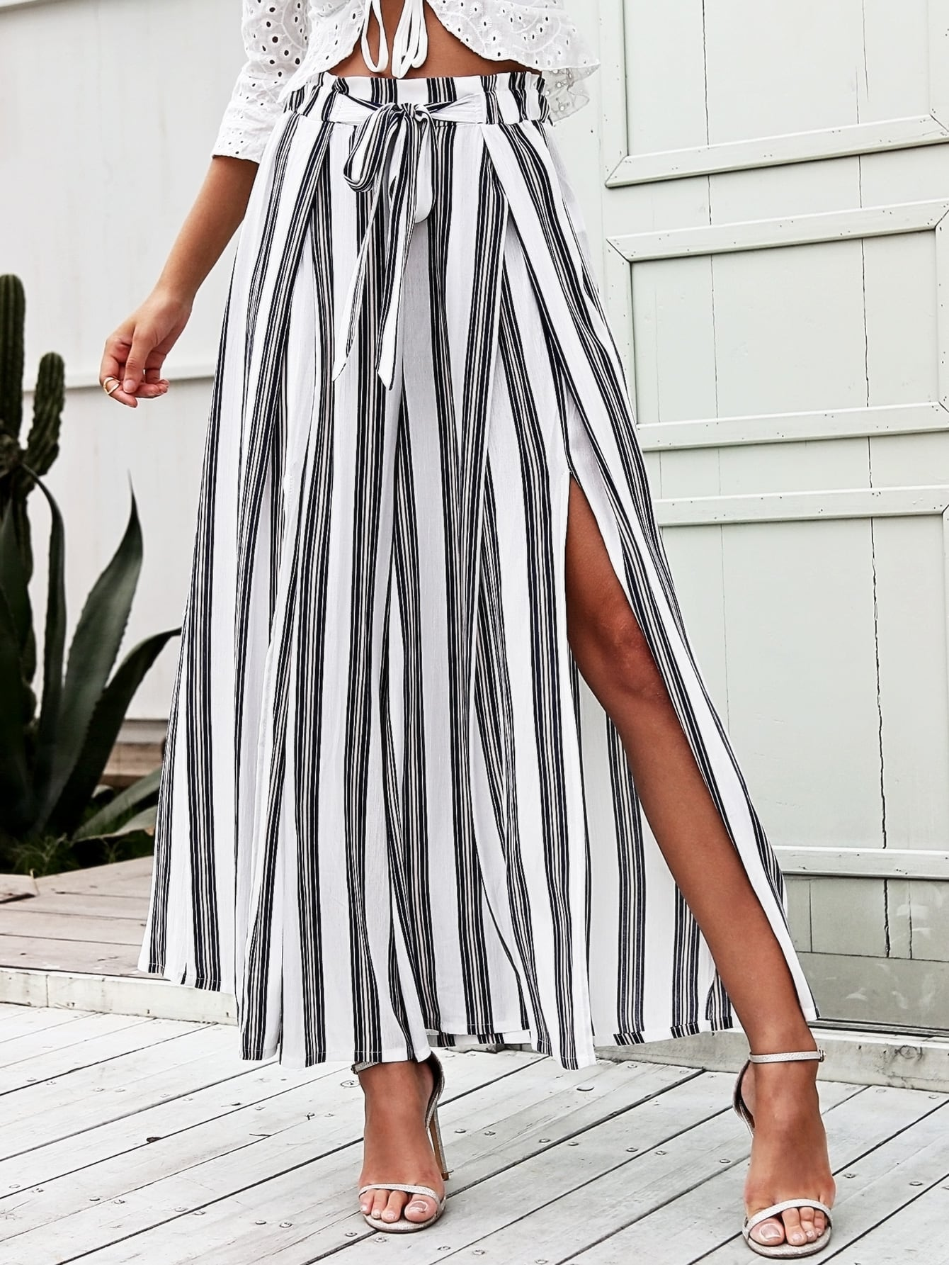 Simplee Split Thigh Tie Waist Striped Wide Leg Pants