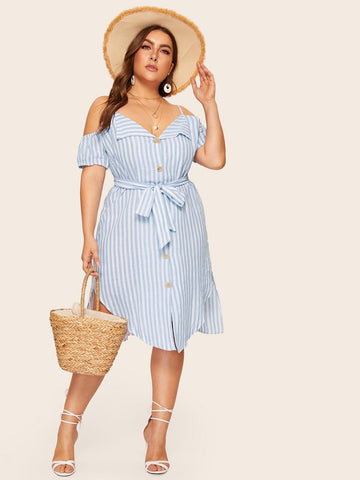 Plus Cold Shoulder Striped Shirt Dress