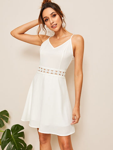Contrast Lace Solid Cami Dress