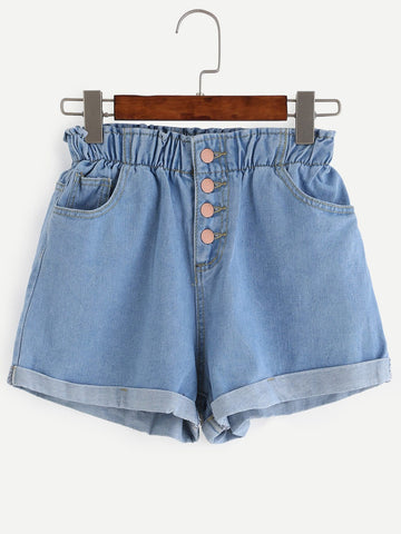 Roll Up Elastic Waist Denim Shorts