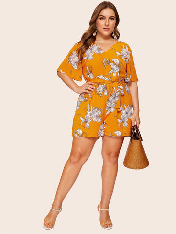 Plus Self Tie Floral Print Romper