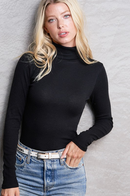 Black Ribbed Turtleneck