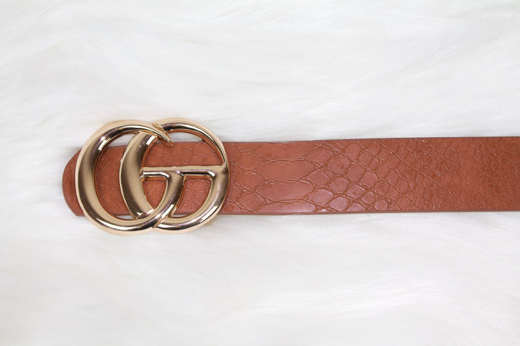 Cognac Snakeskin Fashion Belt