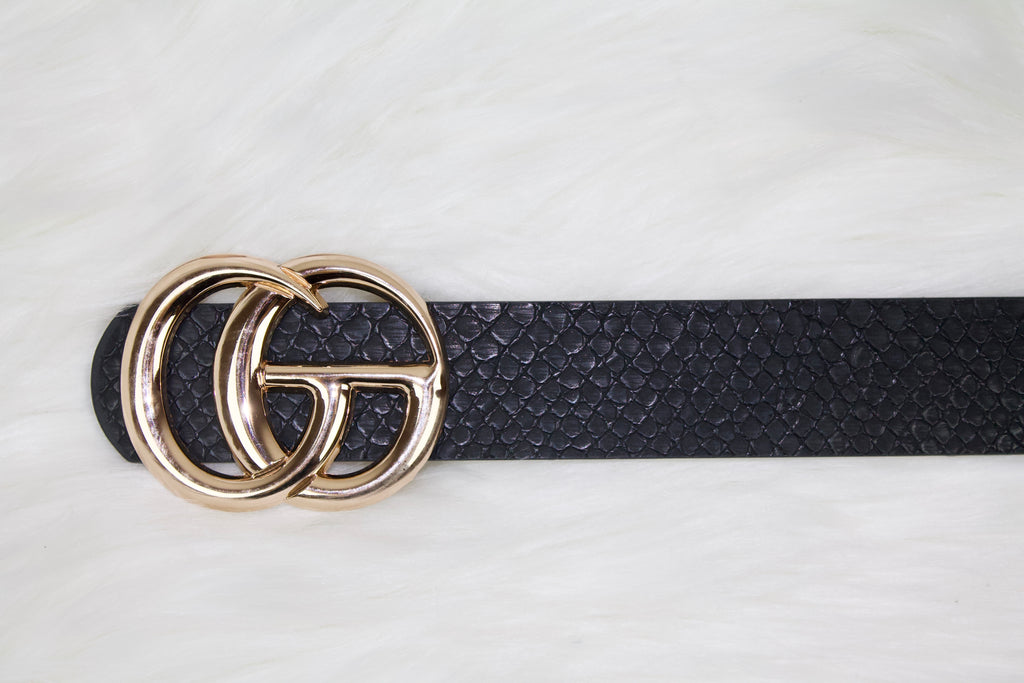 Black Snakeskin Fashion Belt