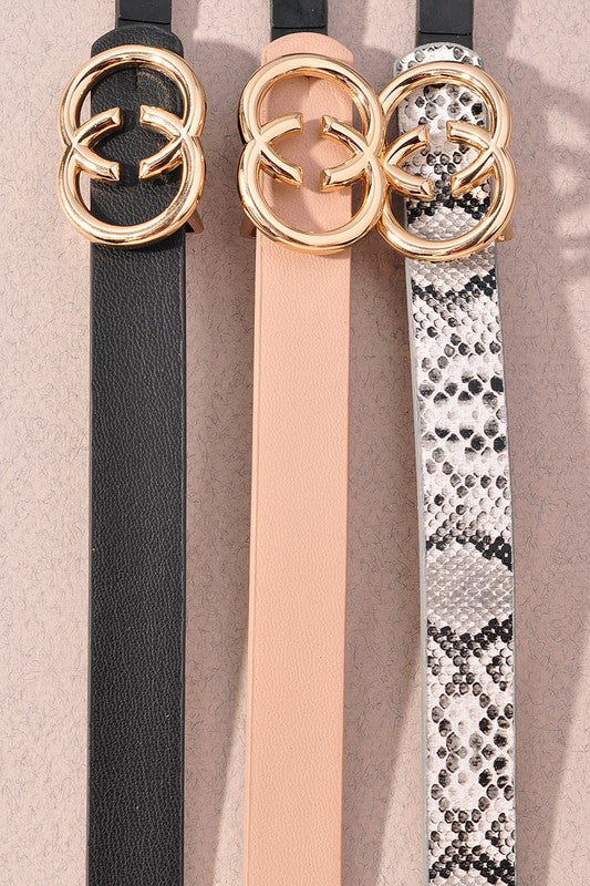Double Circle Thin Fashion Belts