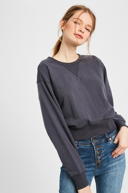 Julie Open Back Charcoal Sweatshirt