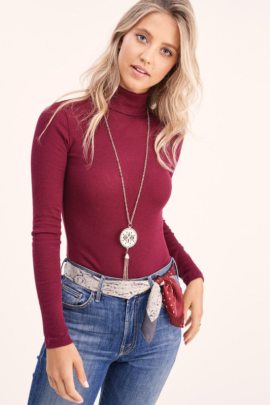 Burgundy Ribbed Turtleneck