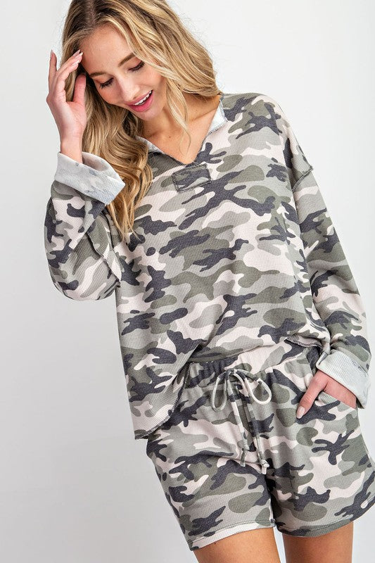 Callie Camo Long Sleeve Top