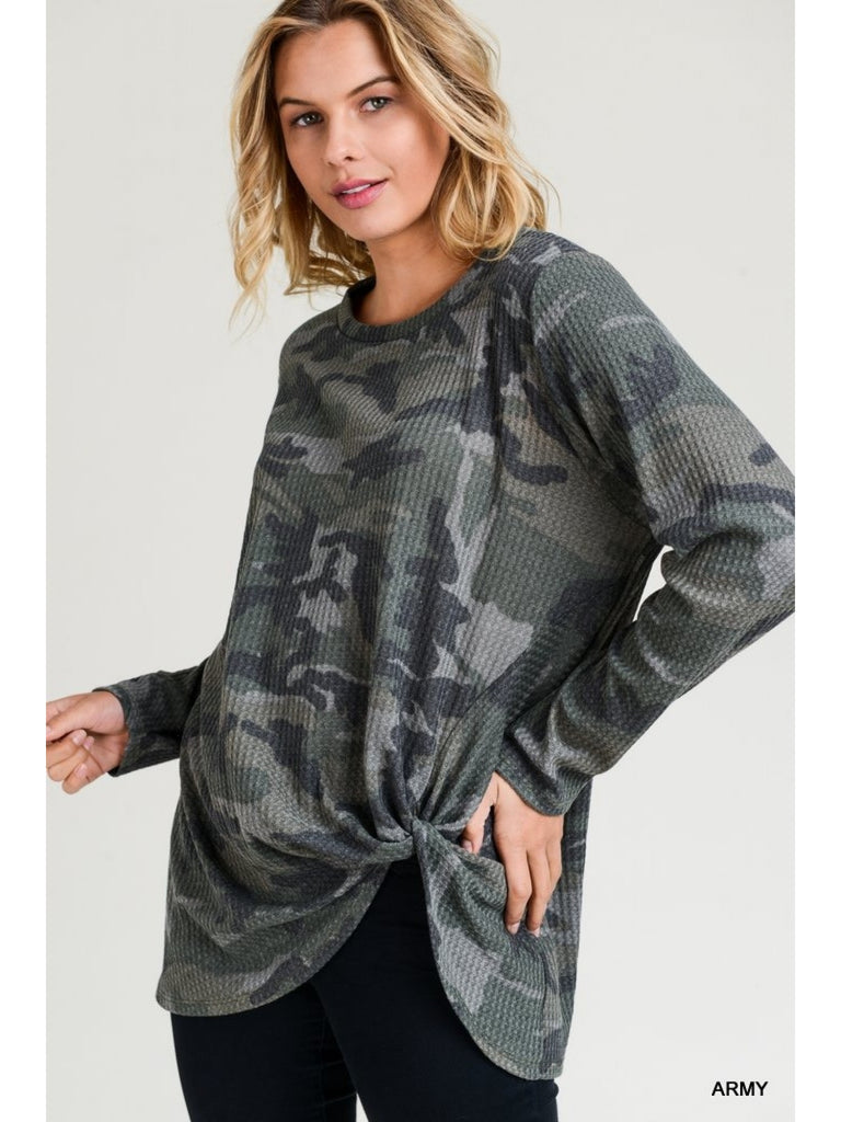 Frannie Camo Knot Top