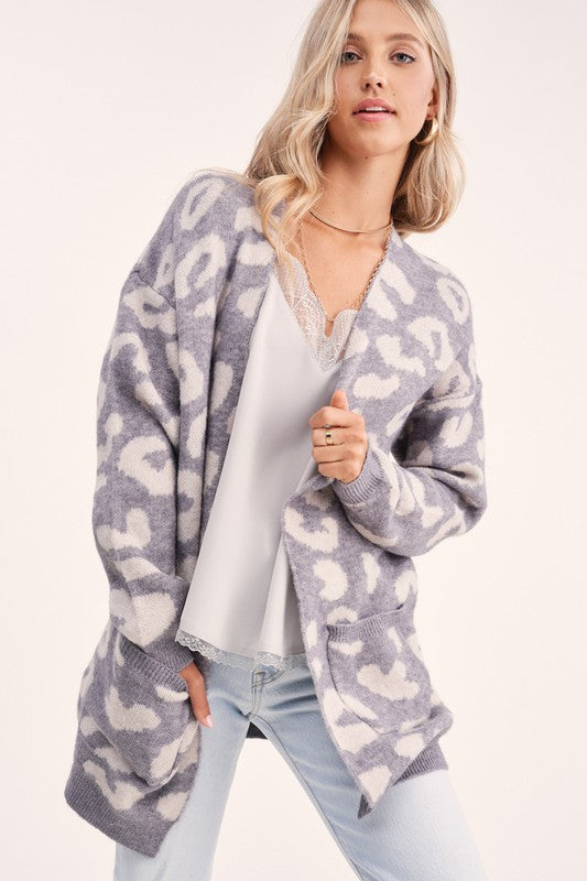 Grey Leopard Cardigan