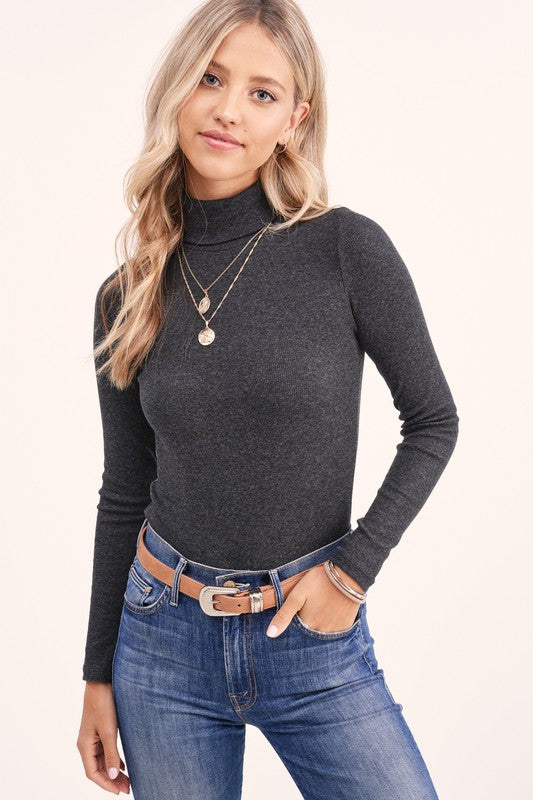 Millie Ribbed Grey Turtleneck