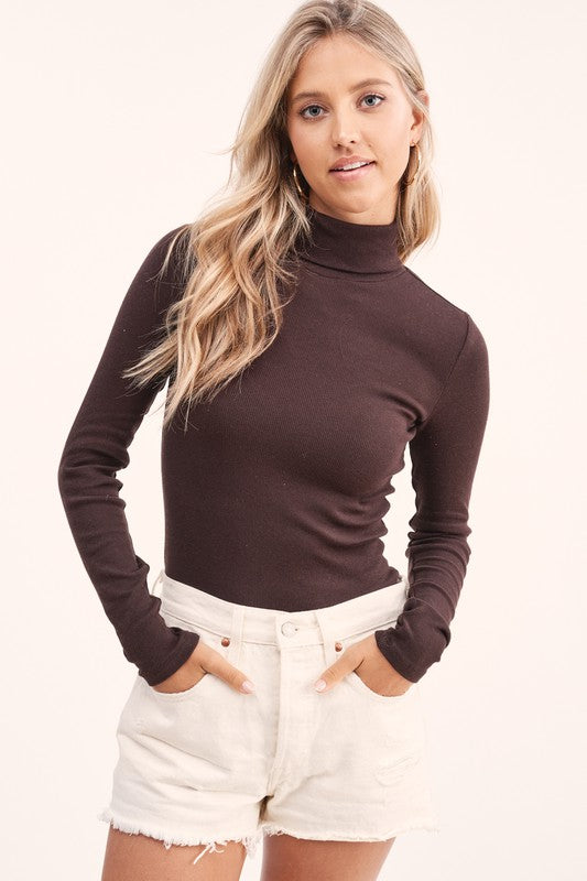 Millie Ribbed Chocolate Turtleneck