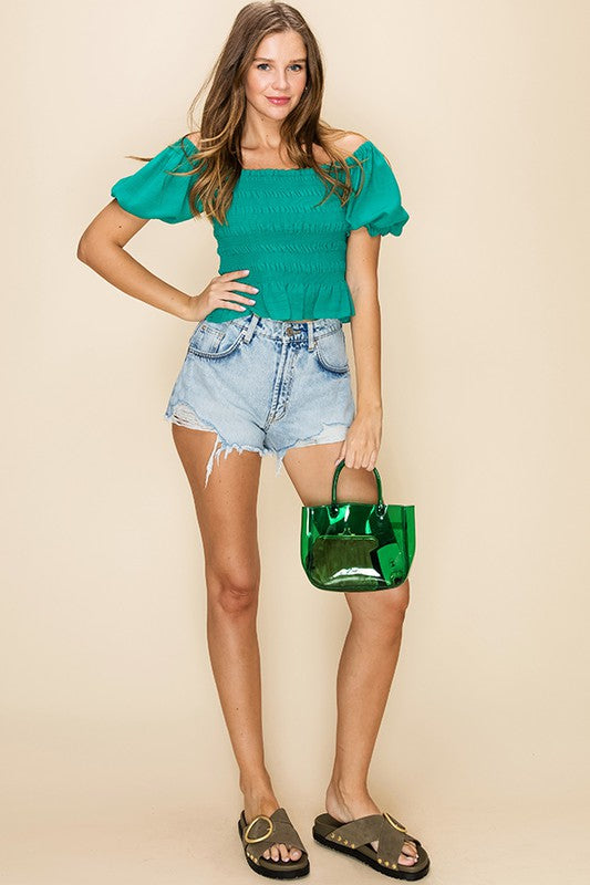 Kelly Green Smocked Top