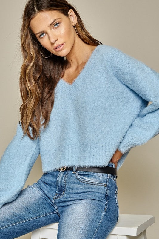 Baby Blue Cropped Sweater