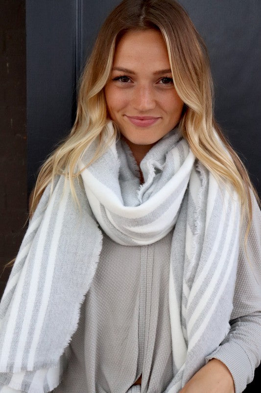 Grey Stripe Scarf