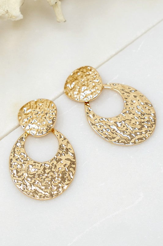 Hammered Geo Shape Earrings