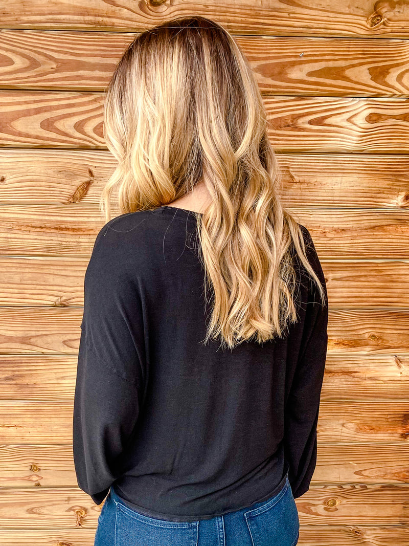 Jade Tie Knit Black Top