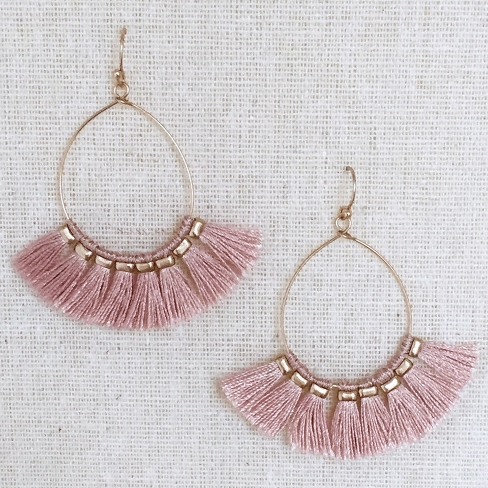 Ella Pink Tassel Earrings