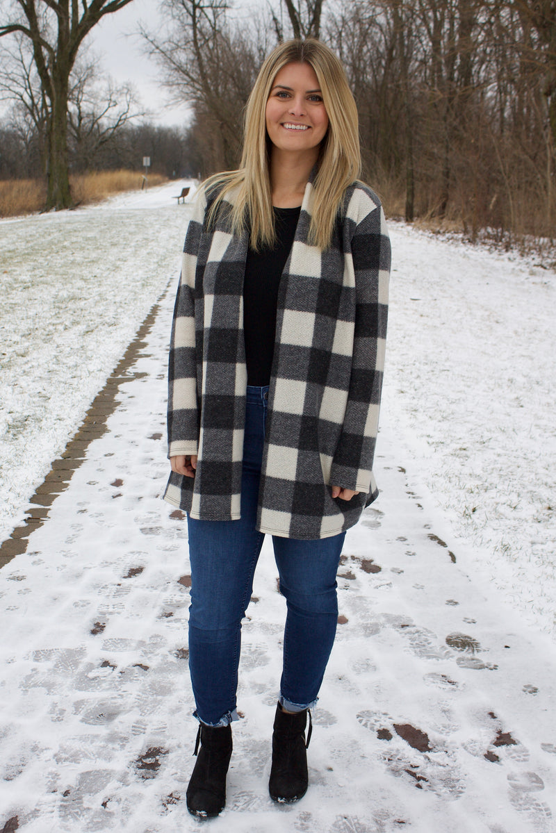 Teri Plaid Open Cardigan