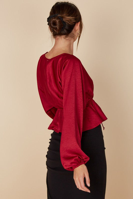 Red Surplice Top