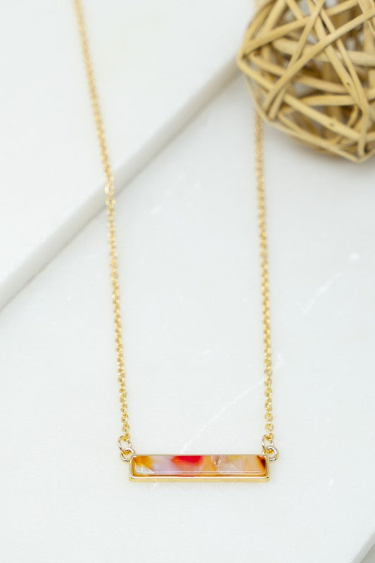 Colorful Resin Bar Necklace