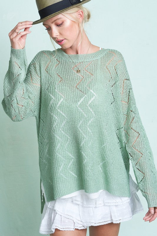 Jenna Zigzag Stitch Sage Sweater