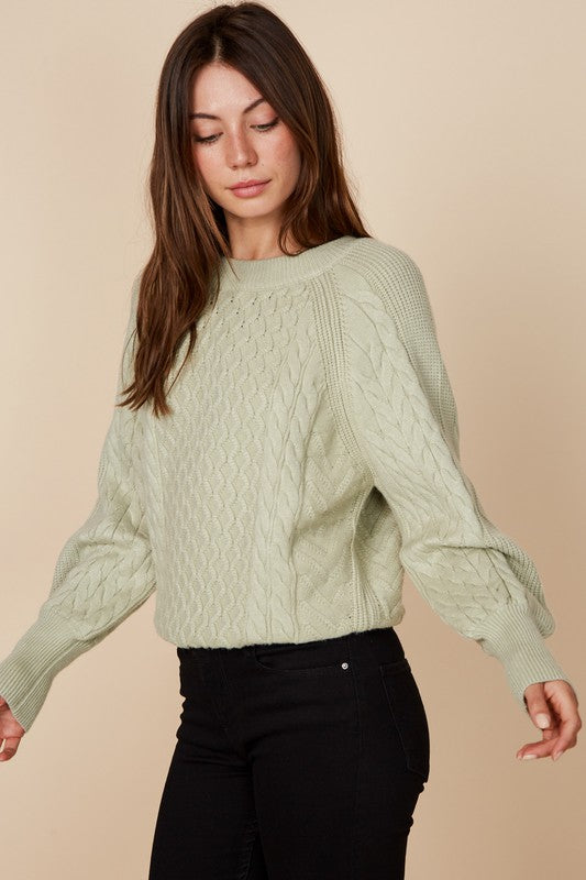 Sage Cable Knit Sweater