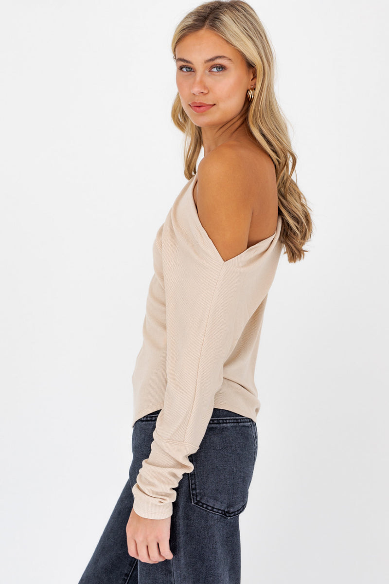 Slouchy Neck Knit Top