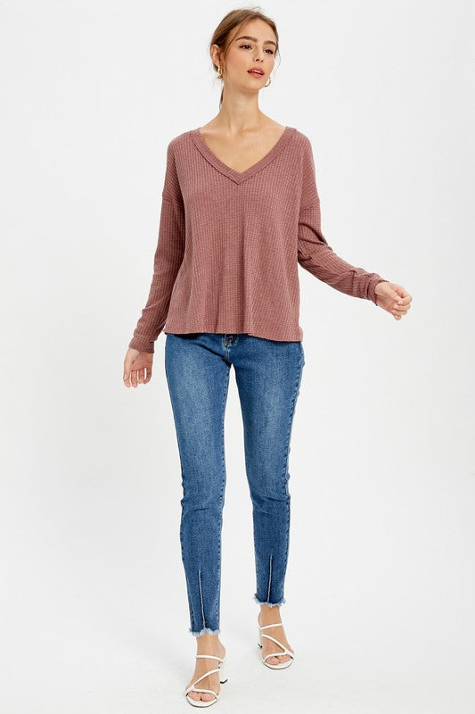 Tia Red Bean Thermal Knit Top