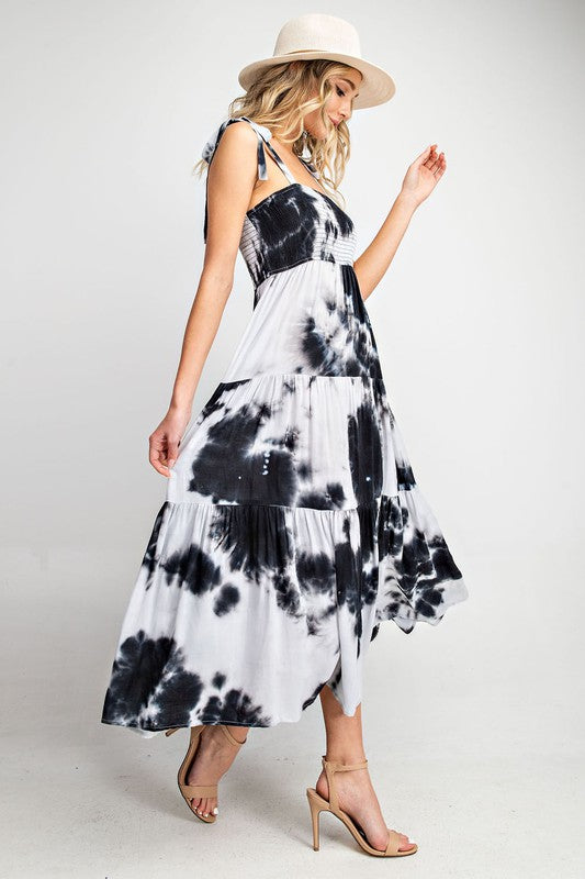 Tie Dye Smocked Maxi Dress