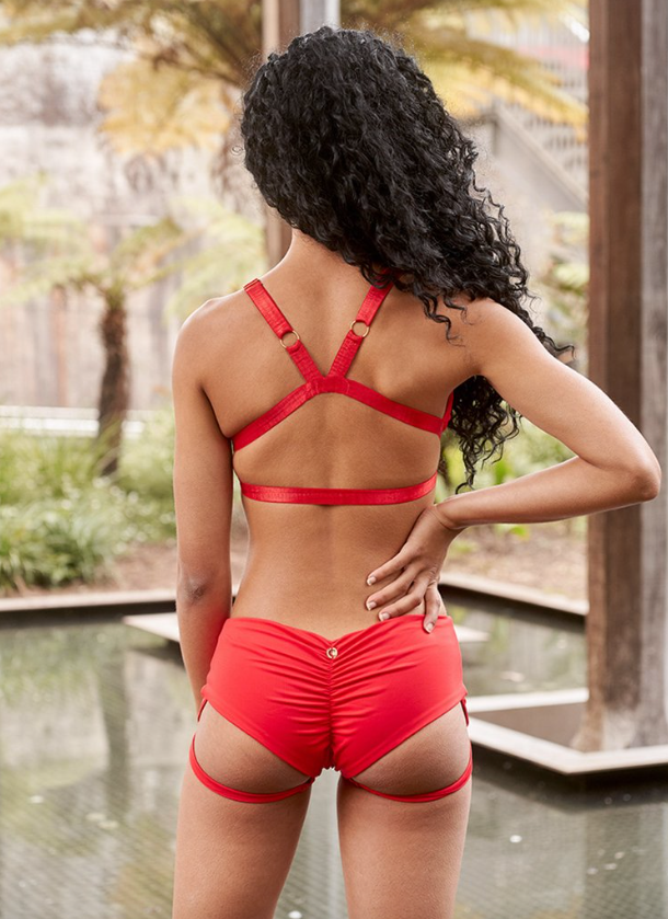 LUNALAE I LURE YOU LOW WAISTED GARTER SHORTS RED