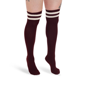 KNEE HIGH SOCKS  - MAROON TONE - TRIWEAR