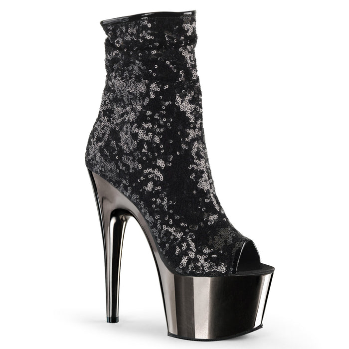 ADORE-1008SQ | 7 INCH  BLACK SEQUINS/DARK PEWTER CHROME PLATFORM MID CALF BOOT