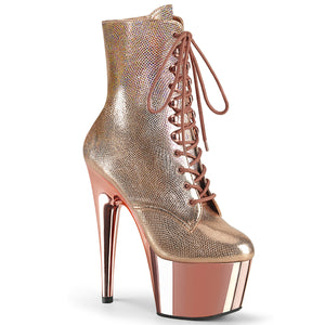 ADORE-1020 | 7 INCH  ROSE GOLD TEXTURED METALLIC/ROSE GOLDCHROME PLATFORM MID CALF BOOT
