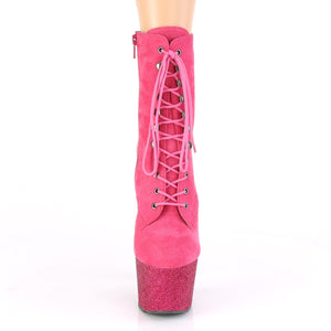 ADORE-1020FSMG | 7 INCH  HOT PINK FAUX SUEDE/HOT PINK MULTI MINI GLITTER PLATFORM MID CALF BOOT