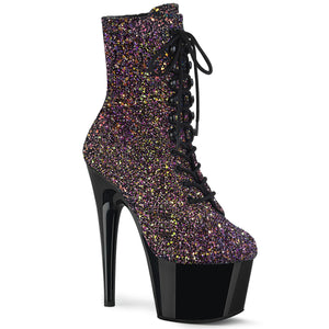 ADORE-1020LG | 7 INCH  PURPLE MULTI GLITTER/BLACK PLATFORM MID CALF BOOT