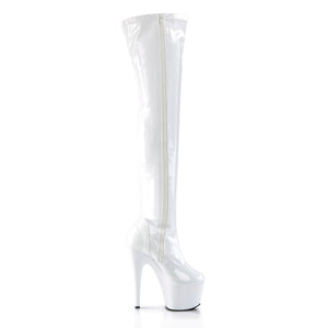 ADORE-3000 | 7 INCH  WHITE STRETCH PATENT/WHITE PLATFORM THIGH HIGH BOOT