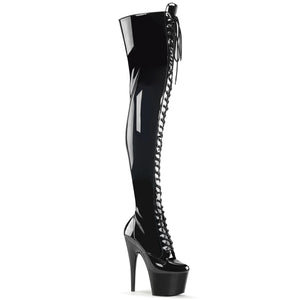 ADORE-3023 | 7 INCH  BLACK STRETCH PATENT/BLACK PLATFORM THIGH HIGH BOOT