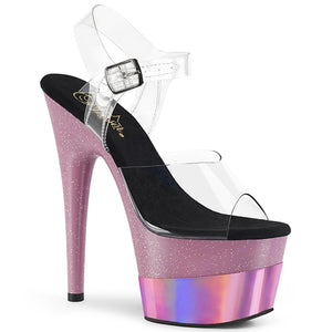 ADORE-708-2HGM | 7 INCH  CLEAR/BABY PINK GLITTER HOLOGRAM PLATFORM HEEL