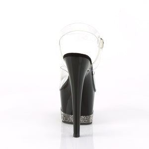 ADORE-708-3 | 7 INCH  CLEAR/BLACK-PEWTER RS PLATFORM HEEL