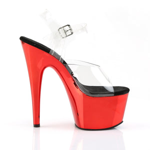 ADORE-708 | 7 INCH  CLEAR/RED CHROME PLATFORM HEEL