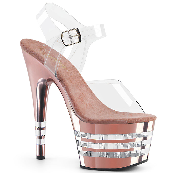 ADORE-708CHLN | 7 INCH  CLEAR/ROSE GOLD CHROME PLATFORM HEEL